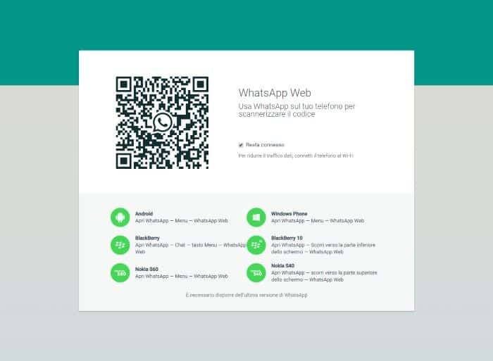 schermata principale di whatsapp web su un pc windows