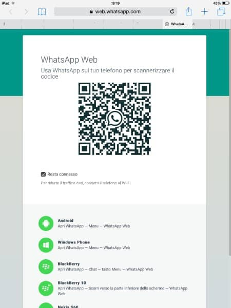 codice qr whatsapp su ipad mini