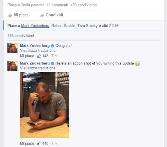 commento di Zuckerberg su record whatsapp
