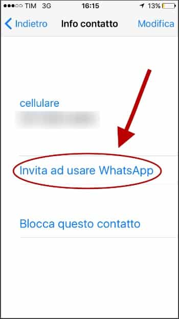 come invitare un amico su WhatsApp
